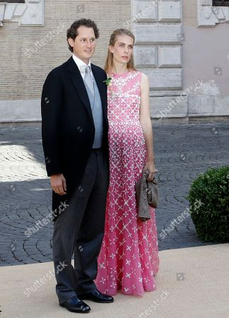 John Elkann Lavinia Borromeo FIAT's chairman John Elkann and his wife Lavinia Borromeo, right, arrive for the wedding of Belgium's Prince Amedeo and Elisabetta Maria Rosboch von Wolkenstein, at St. Mary in Trastevere Basilica in Rome