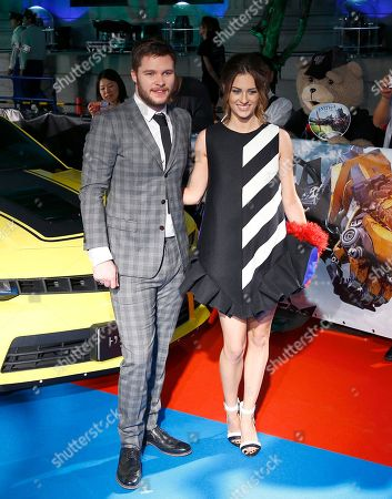 """Actor Jack Reynor, Madeline Mulqueen Actor Jack Reynor, left, and his girlfriend Madeline Mulqueen pose for photographers during Japan premiere of """"Transformers: Age of Extinction"""" in Tokyo"""