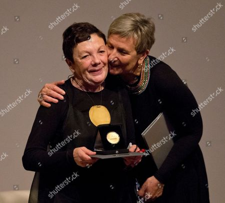 Graciela Iturbide, Fabienne Bradu Mexican photographer Graciela Iturbide, left, is congratulated by writer and friend Fabienne Bradu after receiving the 2014 Medal of Fine Arts, at the Palace of Fine Arts in Mexico City, . Iturbide, one of Mexico's best known photographers, was recognized with Mexico's highest arts award on Thursday
