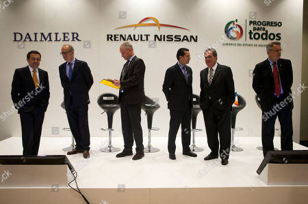 Ildefonso Guajardo Villarreal, Pedro Antonio Tabera, Guido Krupinski, Jose Munoz, Carlos Lozano de la Torre, Michael Bartsch Representatives of Daimler, Renault-Nissan, Infiniti, and the Mexican government, arrive for a joint press conference in Mexico City, . From left are Mexico's Secretary of the Economy Ildefonso Guajardo Villarreal; Mercedes Benz Mexico CEO Pedro Antonio Tabera; Daimler's Dr. Guido Krupinski; Jose Munoz, Nissan's executive vice president and the chairman of Nissan North American; Carlos Lozano de la Torre, governor of Aguascalientes state; and Michael Bartsch, vice president of Infiniti Americas