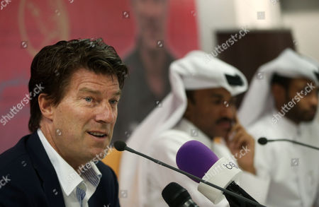 Stock Image of Michael Laudrup Danish soccer coach Michael Laudrup speaks during a press conference after he has was announced head coach of the Qatar soccer club Lekhwiya SC, in Doha, Qatar