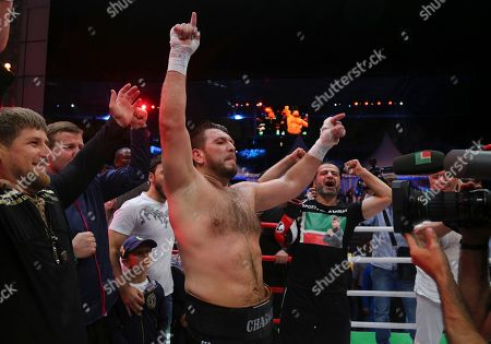 "Fres Oquendo, Ruslan Chagaev Chechen leader Ramzan Kadyrov, left, Uzbekistan's ""White Tyson"" Ruslan Chagaev, center, during celebrating the victory over American Fres Oquendo after the WBA heavyweight boxing championship stand in a ring after fighting in Ahmat Arena, in Grozny, Russia, . Former WBA heavyweight champion Ruslan Chagaev became a two-time champ, as he won a 12-round majority verdict over Fres Oquendo to pick up the ""regular"" WBA strap"