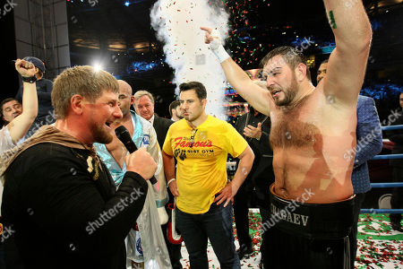 "Stock Photo of Fres Oquendo, Ruslan Chagaev Chechen leader Ramzan Kadyrov, left, congratulates Uzbekistan's ""White Tyson"" Ruslan Chagaev, right, while celebrating his victory over American Fres Oquendo after their WBA heavyweight boxing championship fight at Ahmat Arena, in Grozny, Russia, . Former WBA heavyweight champion Chagaev became a two-time champ, as he won a 12-round majority verdict over Oquendo to pick up the ""regular"" WBA strap"