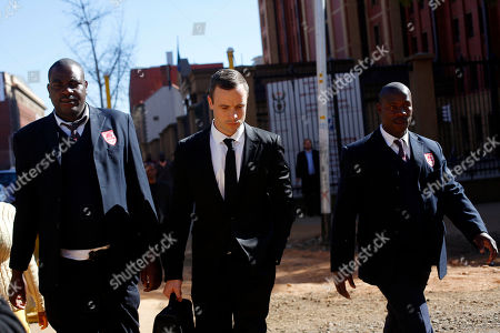 Oscar Pistorius Oscar Pistorius, center, leaves court escorted by two private security officers in Pretoria, . The chief prosecutor, Gerrie Nel has challenged the credibility of a physician, Wayne Derman, who testified that the athlete has an anxious nature linked to his disability and could not be objective about the double-amputee runner because he had treated Pistorius over many years and traveled with him extensively