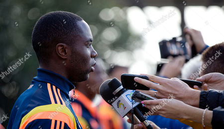 Eder Alvarez Balanta Colombia's player Eder Alvarez Balanta talks to the press on the sidelines of team training on the outskirts of Buenos Aires, Argentina, . Colombia's national soccer team is in Argentina training for the Brazil 2014 World Cup that starts in June