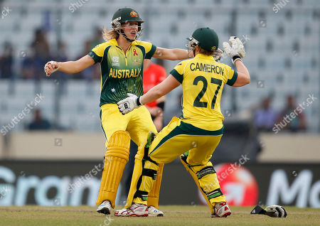 Ellyse Perry, Jessica Cameron Australia's Ellyse Perry, left, and teammate Jessica Cameron celebrate their win over England in the ICC Women's Twenty20 Cricket World Cup final match in Dhaka, Bangladesh, . Australia women won the match by six wickets