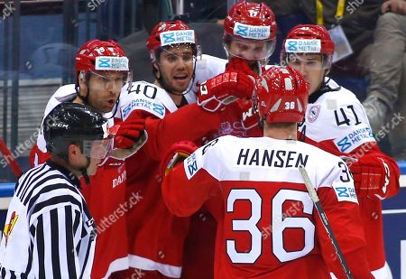 Denmark's players celebrate after Jesper Christensen scoring against Czech Republic during the Group A preliminary round match at the Ice Hockey World Championship in Minsk, Belarus