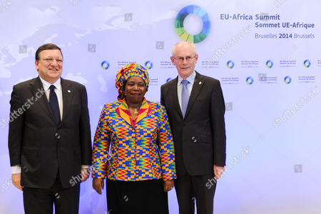 Herman Van Rompuy, Jose Manuel Barroso, Nkosazana Clarice Dlamini Zuma European Council President Herman Van Rompuy, right, and European Commission President Jose Manuel Barroso, left, pose for photographers with African Union Commission Chairperson Nkosazana Clarice Dlamini Zuma at the start of an EU Africa summit at the EU Council building in Brussels on . Leaders of some 70 nations from Africa and the European Union are meeting to improve political and economic cooperation between the two continents. The two-day summit in Brussels starting Wednesday also features discussions about development aid, climate change and migration issues