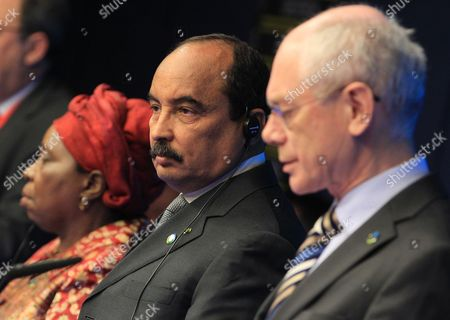 Herman Van Rompuy, Mohamed Ould Abdel Aziz, Nkosazana Clarice Dlamini Zuma African Union President Mohamed Ould Abdel Aziz, center, looks on as he and European Council President Herman Van Rompuy, right, and African Union Commission Chairperson Nkosazana Clarice Dlamini Zuma, address the media at the end of an EU-Africa summit in Brussels on . Leaders of some 70 nations from Africa and the European Union meet to improve political and economic cooperation between the two continents. The two-day summit in Brussels started Wednesday also features discussions about development aid, climate change and migration issues