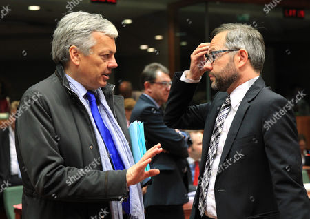 Didier Reynders, Michael Roth Belgium's Foreign Minister Didier Reynders, left, talks with Germany's Minister of State Michael Roth, during an EU general affairs meeting, at the European Council building in Brussels, . EU Foreign ministers discuss the preparation of the upcoming EU summit in June