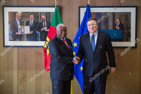 Armando Emilio Guebuza, Jose Manuel Barroso European Commission President Jose Manuel Barroso, right, welcomes Mozambique's President Armando Emilio Guebuza, at his office at the European Commission headquarters in Brussels on