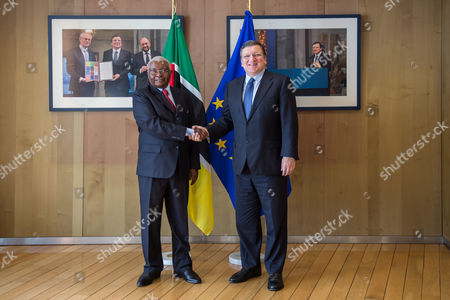 Stock Picture of Armando Emilio Guebuza, Jose Manuel Barroso European Commission President Jose Manuel Barroso, right, welcomes Mozambique's President Armando Emilio Guebuza at his office at the European Commission headquarters in Brussels on