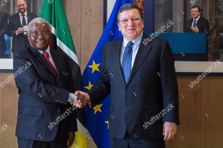 Stock Photo of Armando Emilio Guebuza, Jose Manuel Barroso European Commission President Jose Manuel Barroso, right, welcomes Mozambique's President Armando Emilio Guebuza at his office at the European Commission headquarters in Brussels on