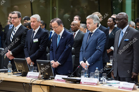 Ban Ki-moon, Didier Reynders, Thorbjorn Jagland, Serge Brammertz, Adama Dieng United Nations Secretary General Ban Ki-moon, center, alongside Belgium's Foreign Minister Didier Reynders, second right, Thorbjorn Jagland, the Secretary-General of the Council of Europe, second from left, Serge Brammertz, chief U.N. war crimes prosecutor for former Yugoslavia, left and Adama Dieng, U.N. Secretary-General's Special Adviser for the Prevention of Genocide hold a moment of silence for all genocide victims at the start of the second day of the International Conference on Genocide Prevention at the Egmont Palace in Brussels