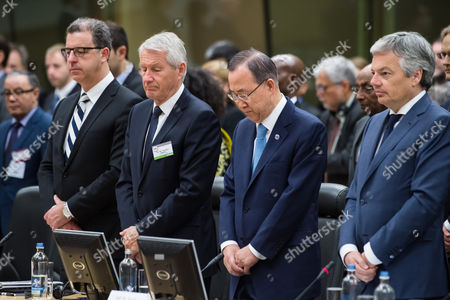 Ban Ki-moon, Didier Reynders, Thorbjorn Jagland, Serge Brammertz United Nations Secretary General Ban Ki-moon, second from right, together with Belgium's Foreign Minister Didier Reynders, right, Thorbjorn Jagland, the Secretary-General of the Council of Europe, second from left, and Serge Brammertz, chief U.N. war crimes prosecutor for former Yugoslavia hold a moment of silence for all genocide victims at the start of the second day of the International Conference on Genocide Prevention at the Egmont Palace in Brussels on