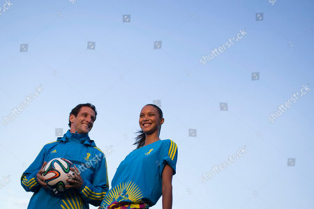 Juliano Belletti, Lais Ribeiro Former soccer player Juliano Belletti, left, and top Brazilian model Lais Ribeiro present the uniform that will be used by volunteers working at the 2014 World Cup soccer tournament, during Fashion Week in Rio de Janeiro, Brazil, . Brazil will host this year's World Cup