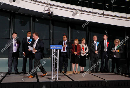 Barry Quirk, Gerard Batten, Syed Kamall, Mary Honeyball, Lucy Anderson, Charles Tannock, Seb Dance, Jean Lambert Regional Returning Officer Barry Quirk, third left, leaves the podium after announcing the elected MEPs during the declaration for the London Region of European Parliament elections at the City Hall in London, . Looking on are the elected MEPs, from left, Gerard Batten of UK Independence Party, Syed Kamall of Conservative Party, Claude Moraes of Labour Party, Mary Honeyball of Labour Party, Lucy Anderson of Labour Party, Charles Tannock of Conservative Party, Seb Dance of Labour Party and Jean Lambert of Green Party