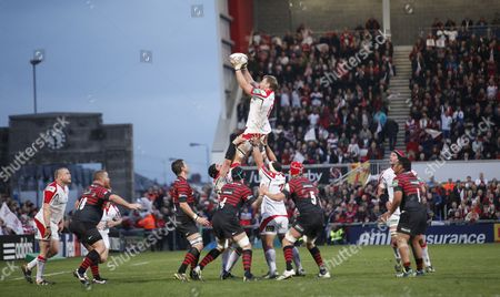 Ulster's Peter Wilson, centre, wins a line-out against Saracens uring their Rugby Union European Cup Quarter- Final match at Ravenhill, Belfast, Northern Ireland