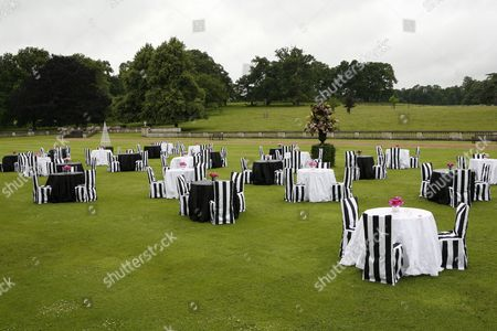 The lawn at Althorp laid out for the civil partnership ceremony of Andrew Solomon and John Habich