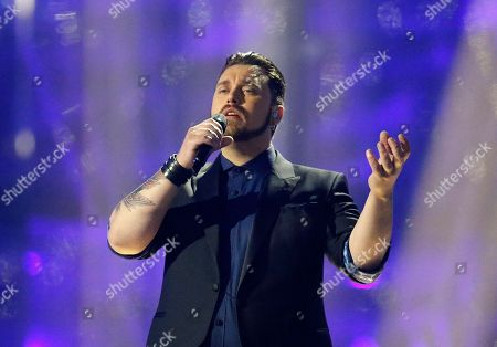 Singer Carl Espen representing Norway performs the song 'Silent Storm' during the final of the Eurovision Song Contest in the B&W Halls in Copenhagen, Denmark