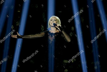 Singer Sanna Nielsen representing Sweden performs the song 'Undo' during the final of the Eurovision Song Contest in the B&W Halls in Copenhagen, Denmark
