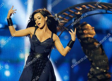 Singer Mariya Yaremchuk representing Ukraine performs the song 'Tick-Tock' during the final of the Eurovision Song Contest in the B&W Halls in Copenhagen, Denmark