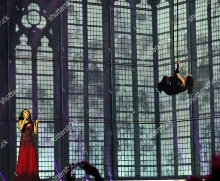 Singer Dilara Kazimova representing Azerbaijan performs the song 'Start A Fire', during the first semifinal of the Eurovision Song Contest in the B&W Halls, in Copenhagen, Denmark