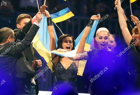 Singer Mariya Yaremchuk representing Ukraine celebrates being one of the winners of the semifinal of the Eurovision Song Contest in the B&W Halls in Copenhagen, Denmark