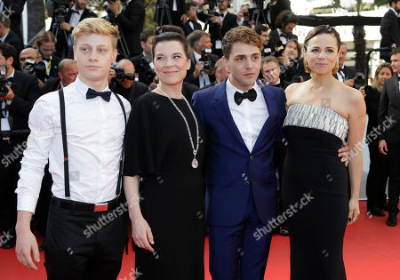 From left, actor Antoine-Olivier Pilon, actress Anne Dorval, director Xavier Dolan and actress Suzanne Clement from the film Mommy arrive for the awards ceremony at the 67th international film festival, Cannes, southern France