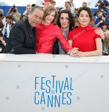 Celine Salette, Rachid Youcef, Nailia Harzoune From left, director Tony Gatlif, actress Celine Salette, Rachid Youcef and Nailia Harzoune pose during a photo call for Geronimo at the 67th international film festival, Cannes, southern France