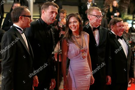From left, director Andrey Zvyagintsev, actor Vladimir Vdovichenkov, actress Elena Lyadova, actor Alexei Serebryakov and actor Roman Madianov pose for photographers as they arrive for the screening of Leviathan at the 67th international film festival, Cannes, southern France