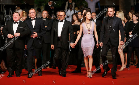 From left, actor Roman Madianov, actor Alexei Serebryakov, director Andrey Zvyagintsev, actress Elena Lyadova and actor Vladimir Vdovichenkov for the screening of Leviathan at the 67th international film festival, Cannes, southern France
