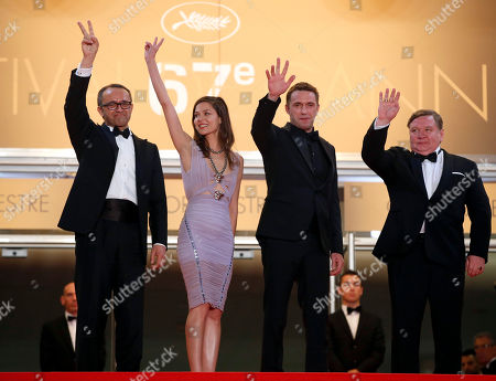 From left, director Andrey Zvyagintsev, actress Elena Lyadova, actor Vladimir Vdovichenkov and actor Roman Madianov pose for photographers as they arrive for the screening of Leviathan at the 67th international film festival, Cannes, southern France