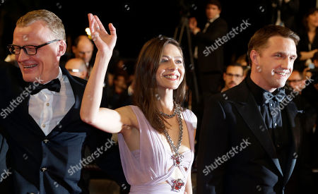 From left, actor Alexei Serebryakov, actress Elena Lyadova, and actor Vladimir Vdovichenkov for the screening of Leviathan at the 67th international film festival, Cannes, southern France