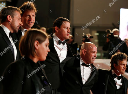 Stock Picture of Mark Schultz, Bennett Miller, Megan Ellison, Mark Ruffalo, Channing Tatum From right, actor Mark Ruffalo, wrestler Mark Schultz, actor Channing Tatum, producer Megan Ellison, director Bennet Miller and actor Steve Carell exit after the screening of Maps to the Stars at the 67th international film festival, Cannes, southern France