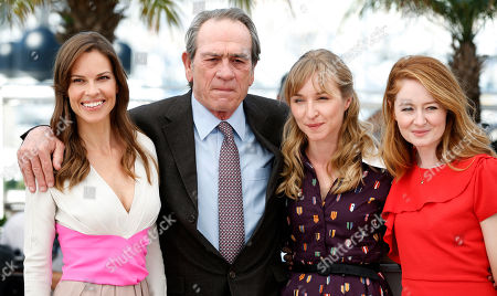 Hilary Swank, Tommy Lee Jones, Miranda Otto, Sonja Richter From left, actress Hilary Swank, director Tommy Lee Jones, actress Sonja Richter and actress Miranda Otto pose during a photo call for The Homesman at the 67th international film festival, Cannes, southern France
