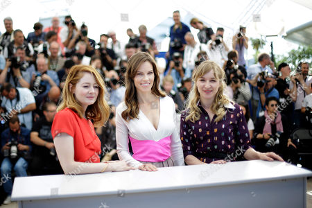 Hilary Swank, Miranda Otto, Sonja Richter From left, actress Miranda Otto, actress Hilary Swank and actress Sonja Richter pose during a photo call for The Homesman at the 67th international film festival, Cannes, southern France