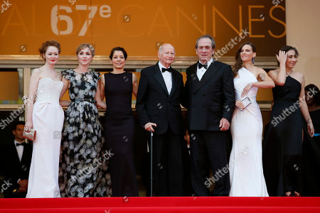 Tommy Lee Jones, Hilary Swank, Miranda Otto, Sonja Richter, Dawn Laurel Jones, Gilles Jabob From second right, actress Hilary Swank, director Tommy Lee Jones, Cannes film festival President Gilles Jacob, the wife of Tommy Lee Jones, Dawn Laurel-Jones, actress Sonja Richter and actress Miranda Otto stand at the top of the red carpet as they arrive for the screening of The Homesman at the 67th international film festival, Cannes, southern France