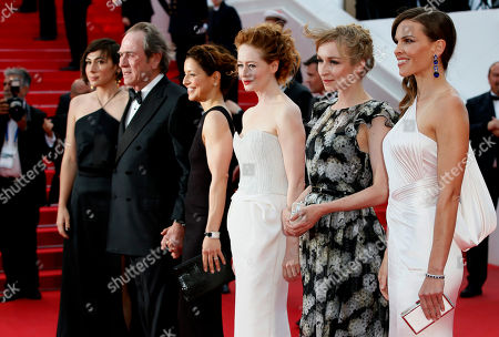 Hillary Swank, Miranda Otto, Sonja Richter, Tommy Lee Jones From right, actress Hilary Swank, actress Sonja Richter, actress Miranda Otto and director Tommy Lee Jones, second left, arrive for the screening of The Homesman at the 67th international film festival, Cannes, southern France