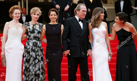 Tommy Lee Jones, Hilary Swank, Miranda Otto, Sonja Richter, Dawn Laurel Jones From second right, actress Hilary Swank, director Tommy Lee Jones, his wife Dawn Laurel-Jones, actress Sonja Richter and actress Miranda Otto stand at the top of the red carpet as they arrive for the screening of The Homesman at the 67th international film festival, Cannes, southern France