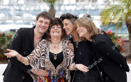 From left, actor and co-director Samuel Theis, actress Angelique Litzenburger, co-director Marie Amachoukeli, and co-director Claire Burger pose for photographers during a photo call for Timbuktu at the 67th international film festival, Cannes, southern France