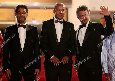 Hitchem Yacoubi, Abderrahmane Sissako, Abel Jafri From left, actor Hitchem Yacoubi, director Abderrahmane Sissako and actor Abel Jafri stand at the top of the steps as they arrive for the screening of Timbuktu at the 67th international film festival, Cannes, southern France