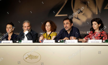 Demet Akbag, Haluk Bilginer, Zeynap Ozbatur Atakan, Nuri Bilge Ceylan, Ebru Ceylan From left, actress Demet Akbag, actor Haluk Bilginer, producer Zeynap Ozbatur Atakan, director Nuri Bilge Ceylan and screenwriter Ebru Ceylan during a press conference for Winter Sleep at the 67th international film festival, Cannes, southern France