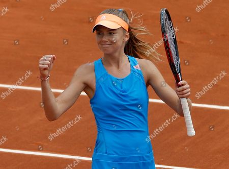 Slovakia's Daniela Hantuchova reacts after defeating Serbia's Jovana Jaksic in the first round match of the French Open tennis tournament at the Roland Garros stadium, in Paris, France