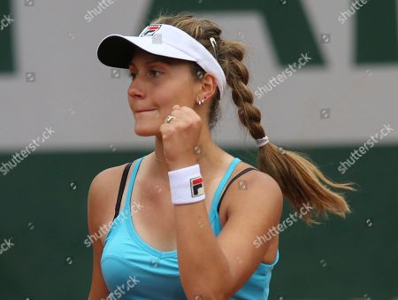 Serbia's Jovana Jaksic reacts as she plays Slovakia's Daniela Hantuchova during the first round match of the French Open tennis tournament at the Roland Garros stadium, in Paris, France
