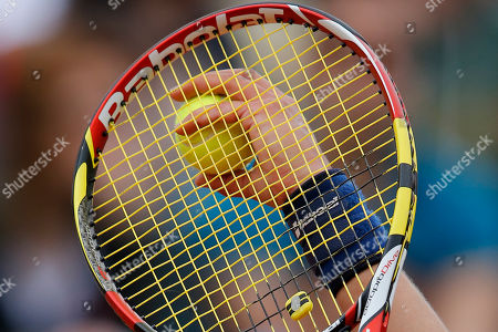 Germany's Dinah Pfizenmaier prepares to serve the ball during the second round match of the French Open tennis tournament against Italy's Sara Errani at the Roland Garros stadium, in Paris, France