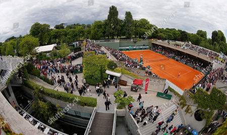 View of court number 2 where Italy's Sara Errani, rear, played her second round match of the French Open tennis tournament against Germany's Dinah Pfizenmaier at the Roland Garros stadium, in Paris, France