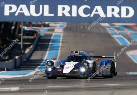 Alexander Wurz, Stephane Sarrazin, Kazuki Nakajima The Toyota TS 040 N°7, driven by Alexander Wurz of Austria, Stephane Sarrazin of France and Kazuki Nakajima of Japan, during the first day of testing at the Prologue of the World Endurance Championship, at the Paul Ricard circuit, in Le Castellet, near Marseille southern France