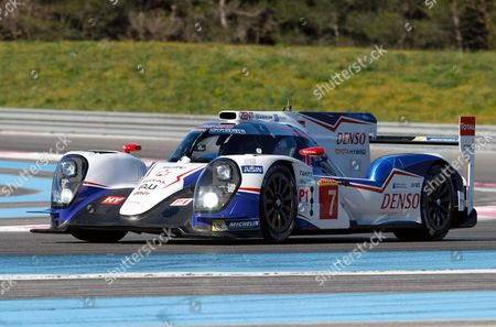 Alexander Wurz, Stephane Sarrazin, Kazuki Nakajima The Toyota TS 040 N°7, driven by Alexander Wurz of Austria, Stephane Sarrazin of France, Kazuki Nakajima of Japan, is seen in action during the first day of testing at the Prologue of the World Endurance Championship, at the Paul Ricard circuit, in Le Castellet, near Marseille southern France