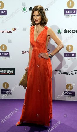 Stock Image of Julia Trainer arrives for the Echo 2014 music awards show in Berlin, Germany